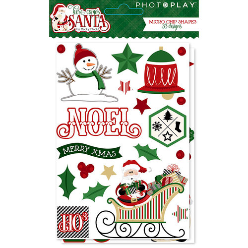 Photo Play Paper - Here Comes Santa Collection - Christmas - Chipboard Stickers