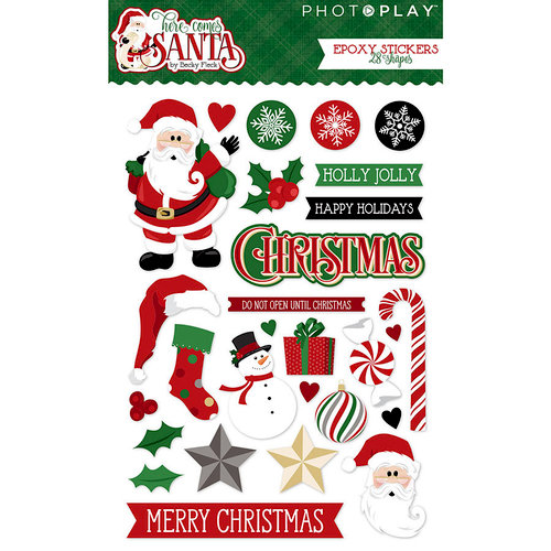 Photo Play Paper - Here Comes Santa Collection - Christmas - Epoxy Stickers