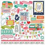 Photo Play Paper - Happy Glamper Collection - 12 x 12 Cardstock Stickers - Elements