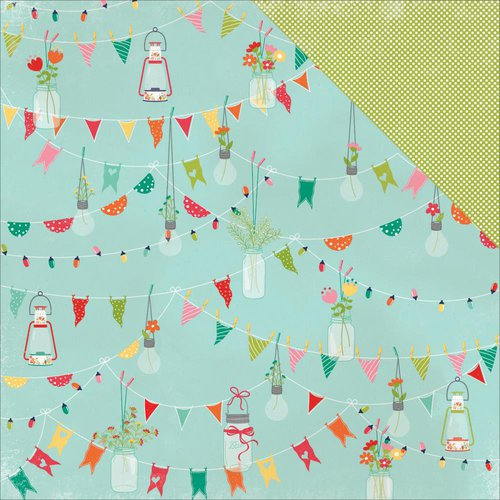 Photo Play Paper - Happy Glamper Collection - 12 x 12 Double Sided Paper - Pennants