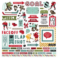 Photo Play Paper - The Hockey Life Collection - 12 x 12 Cardstock Stickers - Elements