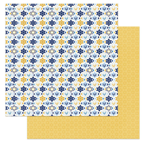 Photo Play Paper - Festival of Lights Collection - 12 x 12 Double Sided Paper - Menorah