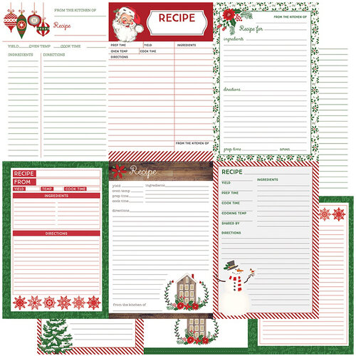 Color Play - Christmas - Holiday Recipe Cards Collection - 12 x 12 Double Sided Paper - Vertical