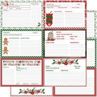 Color Play - Christmas - Holiday Recipe Cards Collection - 12 x 12 Double Sided Paper - Horizontal