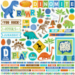 Photo Play Paper - Jurassic Collection - 12 x 12 Cardstock Stickers - Elements