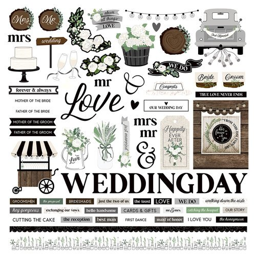 Photo Play Paper - Love and Cherish Collection - 12 x 12 Cardstock Stickers - Elements