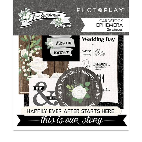 Photo Play Paper - Love and Cherish Collection - Die Cut Cardstock Pieces - Ephemera