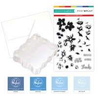 Photo Play Paper - Clear Photopolymer Stamp Set - Layered Blossoms Card Making Bundle Three