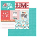 PhotoPlay Paper - Like a Girl Collection - 12 x 12 Double Sided Paper - Run Like A Girl - 4 x 6 Cards