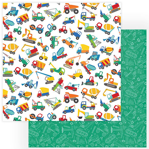 Photo Play Paper - Little Builder Collection - 12 x 12 Double Sided Paper - Little Trucks