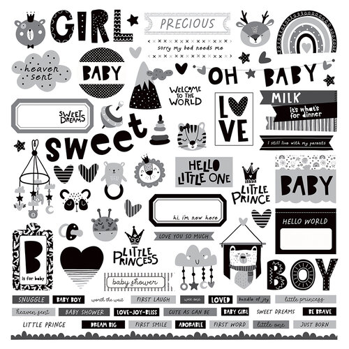 Photo Play Paper - Little One Collection - 12 x 12 Cardstock Stickers - Elements