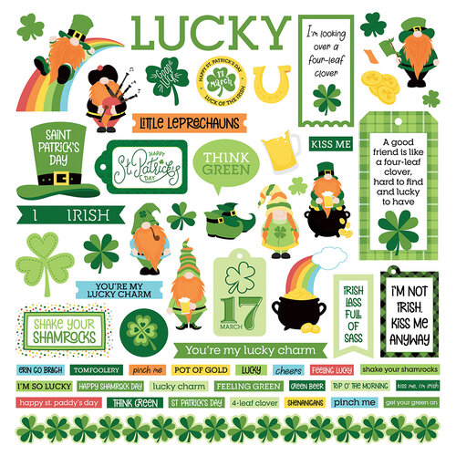 Photo Play Paper - Tulla and Norbert's Lucky Charm Collection - 12 x 12 Cardstock Stickers - Element