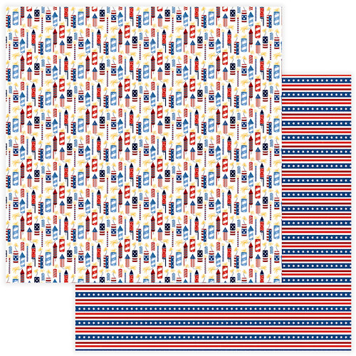 Photo Play Paper - Land of the Free Collection - 12 x 12 Double Sided Paper - Rockets