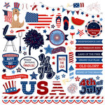 Photo Play Paper - Land of the Free Collection - 12 x 12 Cardstock Stickers - Elements