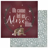 Photo Play Paper - Luke 2 Collection - Christmas - 12 x 12 Double Sided Paper - Oh Come Let Us Adore Him