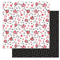 Photo Play Paper - Love Letters Collection - 12 x 12 Double Sided Paper - LOVE