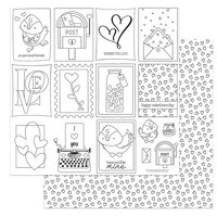 Photo Play Paper - Love Letters Collection - 12 x 12 Double Sided Paper - Color Me Sheet
