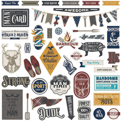Photo Play Paper - Man Card Collection - 12 x 12 Cardstock Stickers - Elements