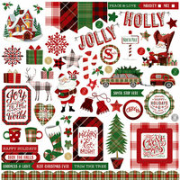 Photo Play Paper - Mad 4 Plaid Christmas Collection - 12 x 12 Cardstock Stickers - Elements