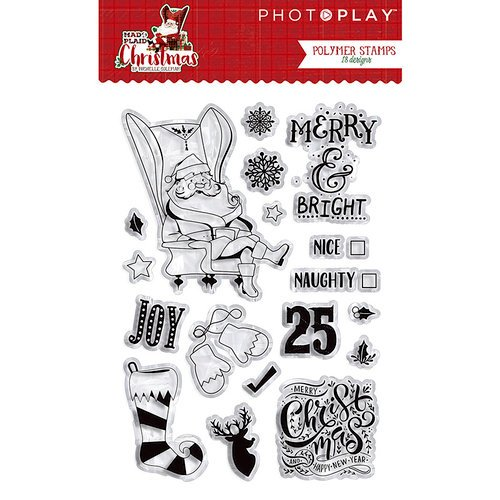 Photo Play Paper - Mad 4 Plaid Christmas Collection - Clear Acrylic Stamps - Icons