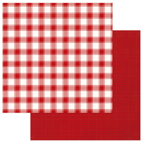 Photo Play Paper - Mad 4 Plaid Christmas Collection - Solids and Buffalo Check - 12 x 12 Double Sided Paper - Red and White