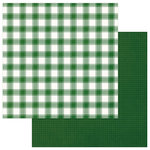 Photo Play Paper - Mad 4 Plaid Christmas Collection - Solids and Buffalo Check - 12 x 12 Double Sided Paper - Green and White