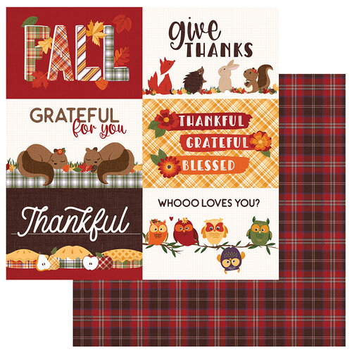 Photo Play Paper - Mad 4 Plaid Fall Collection - 12 x 12 Double Sided Paper - Give Thanks