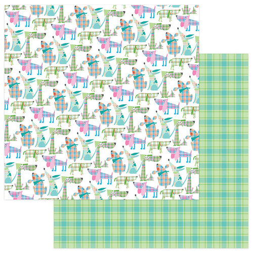 Photo Play Paper - Mad 4 Plaid Happy Collection - 12 x 12 Double Sided Paper - Happy Dogs