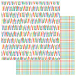 Photo Play Paper - Mad 4 Plaid Happy Collection - 12 x 12 Double Sided Paper - Happy Crayons