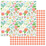 Photo Play Paper - Mad 4 Plaid Happy Collection - 12 x 12 Double Sided Paper - Happy Flowers