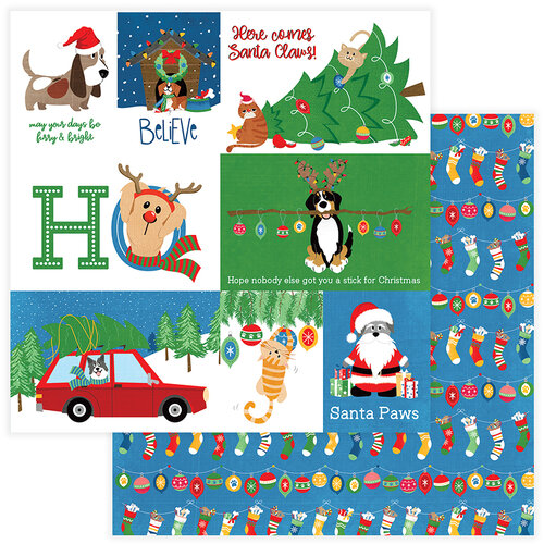 Photo Play Paper - Christmas - Muttcracker Collection - 12 x 12 Double Sided Paper - Santa Paws