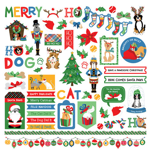 Photo Play Paper - Christmas - Muttcracker Collection - 12 x 12 Cardstock Stickers
