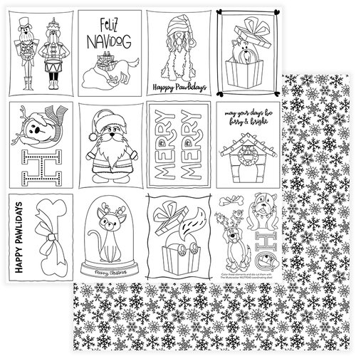 Photo Play Paper - Christmas - Muttcracker Collection - 12 x 12 Double Sided Paper - Color Me