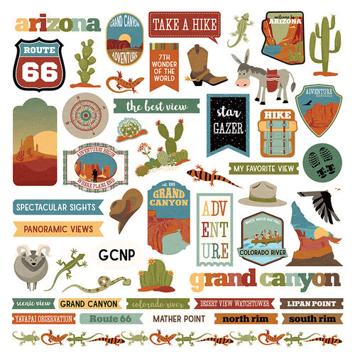 Photo Play Paper - National Parks Grand Canyon Collection - 12 x 12 Cardstock Sticker Sheet