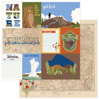 Photo Play Paper - National Parks Yellowstone Collection - 12 x 12 Double Sided Paper - Old Faithful