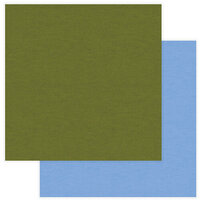 Photo Play Paper - National Parks Yellowstone Collection - 12 x 12 Double Sided Paper - Solids - Olive Green and Light Blue