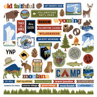 Photo Play Paper - National Parks Yellowstone Collection - 12 x 12 Cardstock Sticker Sheet