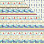 Photo Play Paper - Nautical Bliss Collection - 12 x 12 Double Sided Paper - Nautical Stripes
