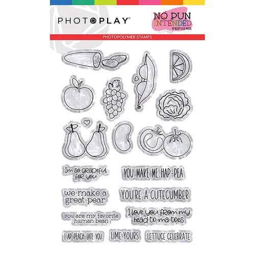 Photo Play Paper - No Pun Intended Collection - Clear Photopolymer Stamps - Fruits & Veggies