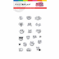 Photo Play Paper - No Pun Intended Collection - Clear Photopolymer Stamps - Smiley Faces