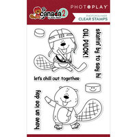 Photo Play Paper - O Canada 2 Collection - Clear Photopolymer Stamps - Beaver Hockey