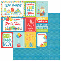 Photo Play Paper - Party Boy Collection - 12 x 12 Double Sided Paper - 3x4 and 4x6 Cards