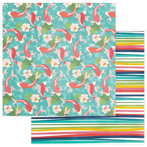 Photo Play Paper - Paper Crane Collection - 12 x 12 Double Sided Paper - Koi Pond