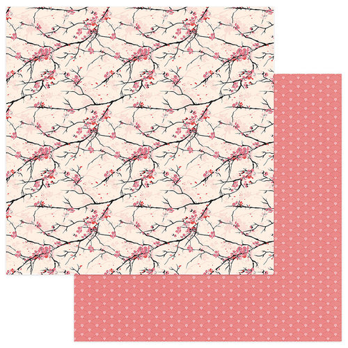 Photo Play Paper - Paper Crane Collection - 12 x 12 Double Sided Paper - Cherry Blossoms