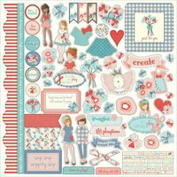 Photo Play Paper - Paper Dolls Collection - 12 x 12 Cardstock Stickers - Elements