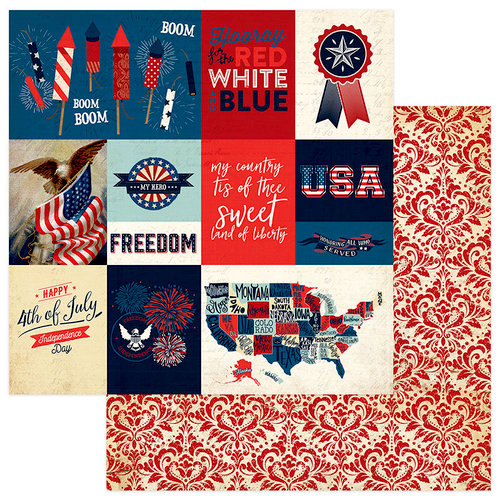 Photo Play Paper - Red, White and Blue Collection - 12 x 12 Double Sided Paper - Rockets Red Glare