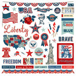 Photo Play Paper - Red, White and Blue Collection - 12 x 12 Cardstock Stickers - Elements