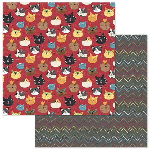 Photo Play Paper - Roxie and Friends Collection - 12 x 12 Double Sided Paper - Here Kitty Kitty