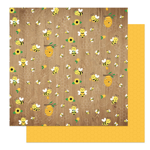 Photo Play Paper - Tulla and Norbert's Sweet As Honey Collection - 12 x 12 Double Sided Paper - Buzzing By
