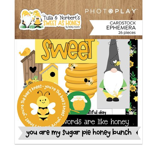 Photo Play Paper - Tulla and Norbert's Sweet As Honey Collection - Die Cut Cardstock Pieces - Ephemera